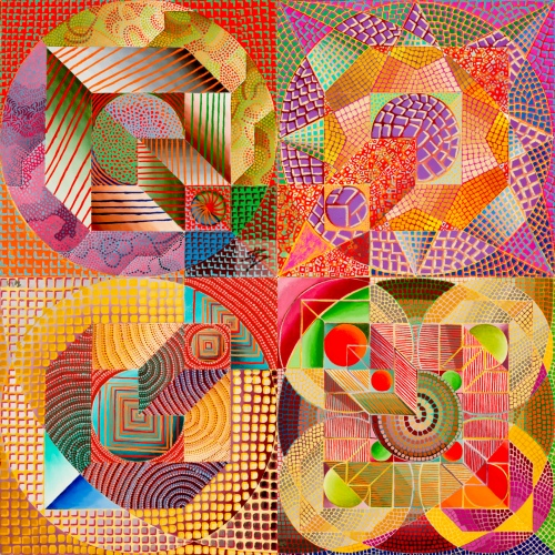 Dissipative Structures 1-4 (quadtych) 2001-2002, oil on canvas